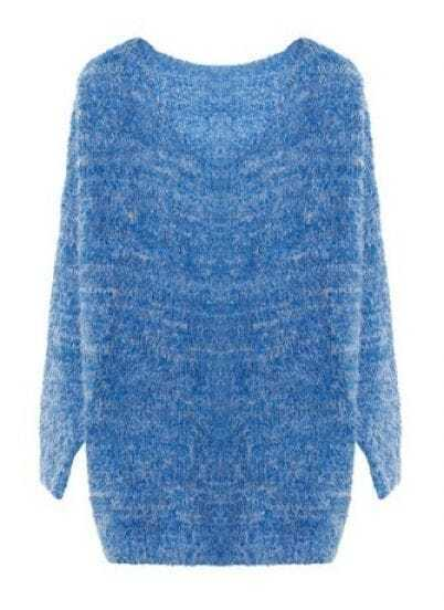 Blue Long Sleeve Plush Pullovers Sweater