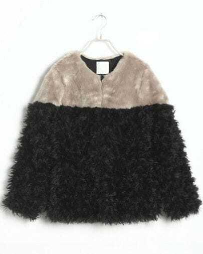 Black Grey Long Sleeve Frizzle Pockets Coat