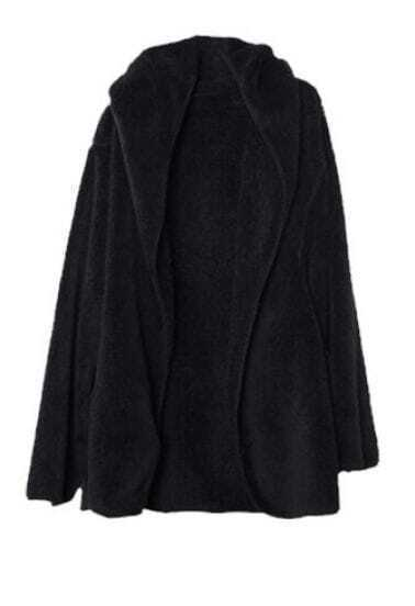 Black Hooded Long Sleeve Loose Buttons Coat