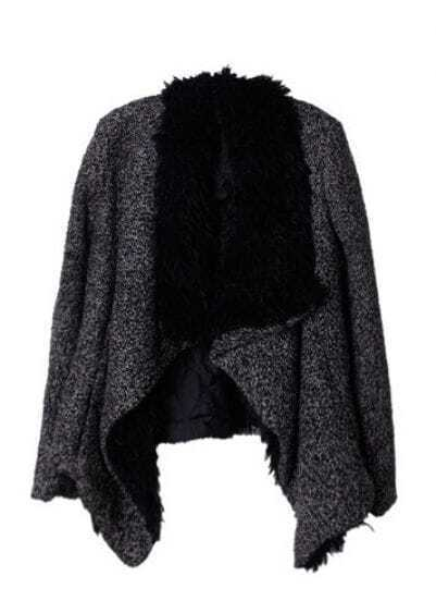Black Fur Lapel Long Sleeve Crop Coat