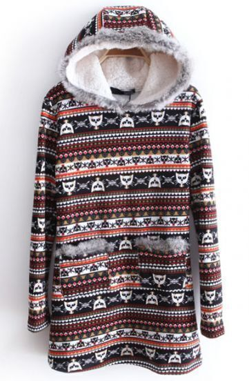 Red Hooded Long Sleeve Striped Cats Print Pockets Sweatshirt