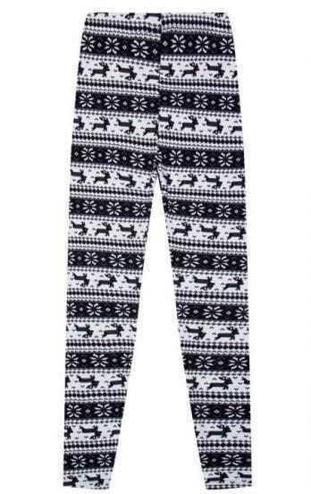 Black Mid Waist Elasic Skinny Deer Print Leggings