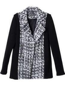 Black White Long Sleeve Zipper Tweed Jacket