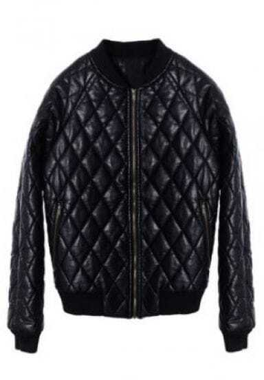 Black Long Sleeve Zipper PU Leather Qulited Jacket