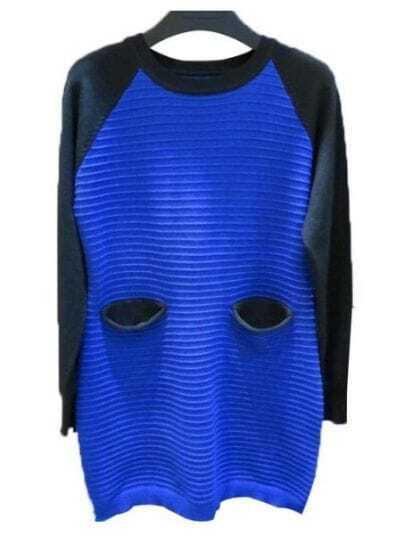 Blue Black Long Sleeve Striped Pockets Sweater Dress
