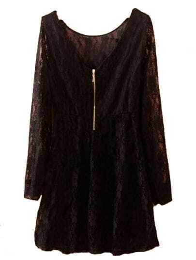 Black Long Sleeve Zipper Embroidery Slim Lace Dress