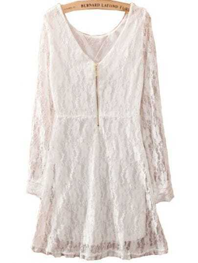 White Long Sleeve Zipper Embroidery Slim Lace Dress