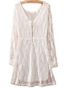 White Long Sleeve Zipper Embroidery Slim Lace Dress