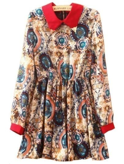 Coffee Lapel Long Sleeve Floral Pleated Dress