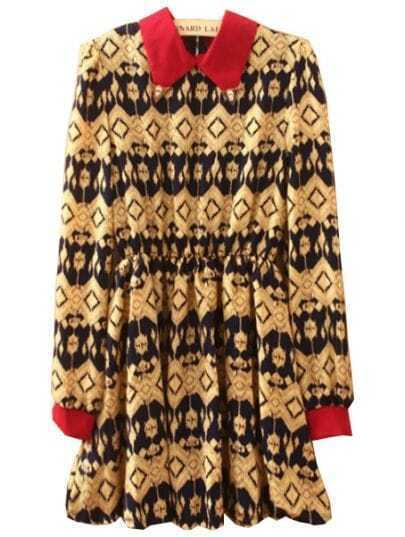 Black Khaki Lapel Long Sleeve Floral Pleated Dress