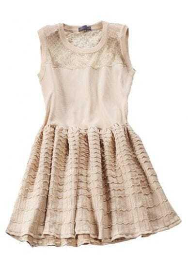 Apricot Contrast Sheer Mesh Yoke Pleated Dress