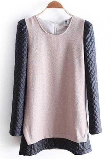 Khaki Contrast PU Leather Diaper Long Sleeve Dress