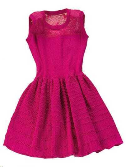 Rose Red Contrast Sheer Mesh Yoke Pleated Dress
