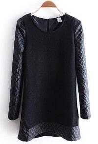 Black Contrast PU Leather Diaper Long Sleeve Dress