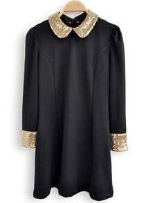 Black Contrast Sequined Lapel Long Sleeve Dress
