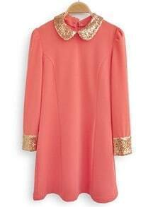 Pink Contrast Sequined Lapel Long Sleeve Dress