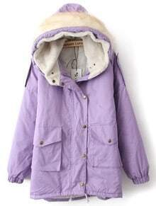 Purple Fur Hooded Drawstring Pockets Coat