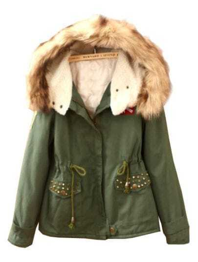 Green Fur Hooded Drawstring Rivet Badge Coat