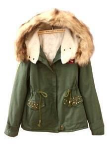 Green Fur Hooded Drawstring Rivet Badge Coat