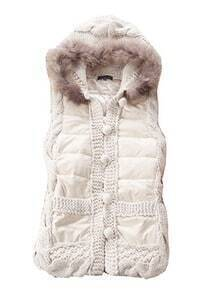 Beige Fur Hooded Sleeveless Buttons Vest Coat