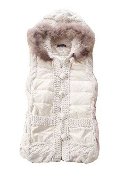 Beige Fur Hooded Sleeveless Buttons Vest Coat