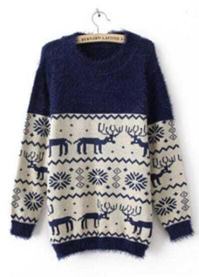 Navy Long Sleeve Deer Snowflake Fluffy Sweater