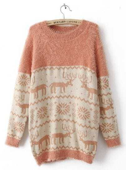 Pink Long Sleeve Deer Snowflake Embroidery Sweater