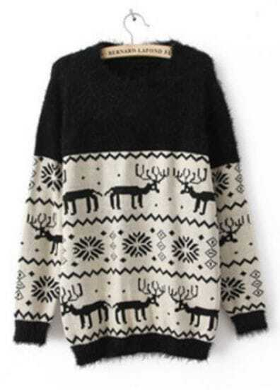 Black Long Sleeve Deer Snowflake Fluffy Sweater