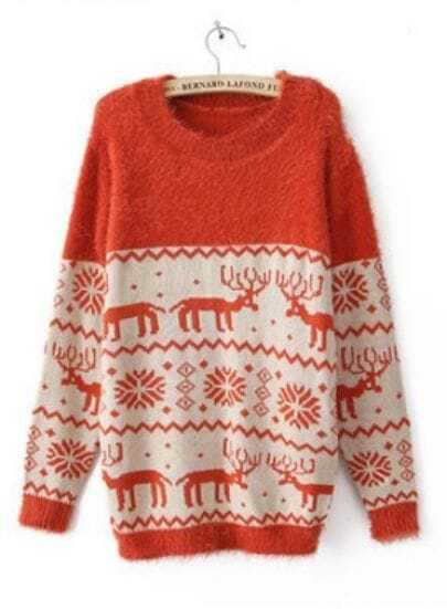 Orange Long Sleeve Deer Snowflake Embroidery Sweater