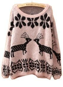 Light Coffee Batwing Long Sleeve Deer Embroidery Sweater