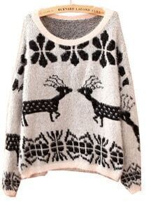 White Batwing Long Sleeve Deer Embroidery Sweater