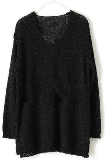 Black V Neck Long Sleeve Split Loose Sweater