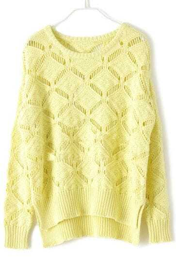Light Yellow Long Sleeve Hollow Diaper Sweater -SheIn(Sheinside)