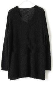 Black V Neck Long Sleeve Split Loose Sweater