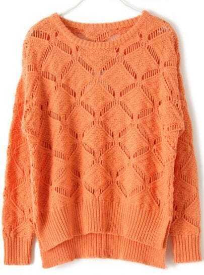 Orange Long Sleeve Hollow Diaper Sweater