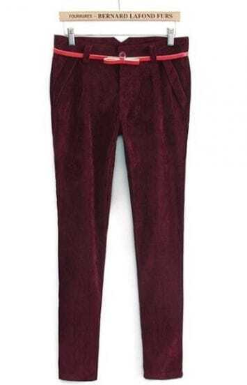Wine Red Low Waist Bow Drawstring Pockets Pant