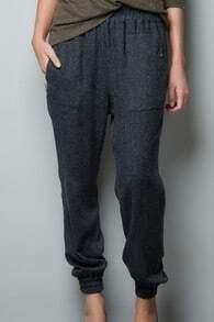 Grey Elastic Waist Zipper Embellished Pockets Pant