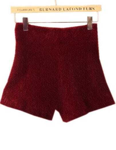 Wine Red High Waist Elastic Mohair Shorts