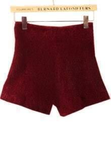 Wine Red High Waist Elastic Mohair Shorts