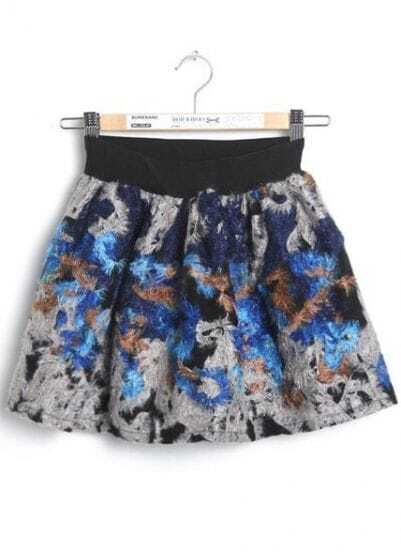 Blue Elastic Waist Floral Plush Skirt