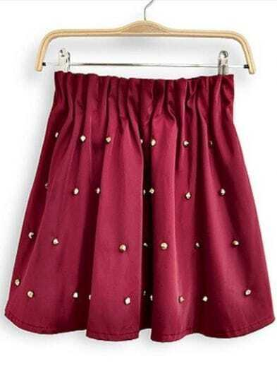 Wine Red Elastic Waist Rivet Pleated Skirt