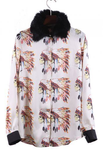 Apricot Contrast Fur Collar Skull with Feather Print Blouse