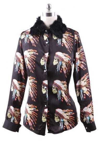 Black Contrast Fur Collar Skull with Feather Print Blouse