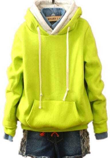 Yellow Hooded Long Sleeve Drawstring Pockets Sweatshirt