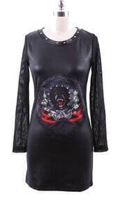 Black Tiger Print Studded Neckline PU Leather Knit Sleeve Dress