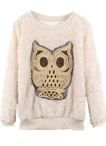 Beige Sequined Embroidered Owl Fleece Pullover Sweatshirt