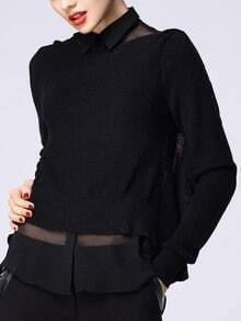 Black Contrast Sheer Mesh Yoke Ruffles Sweater