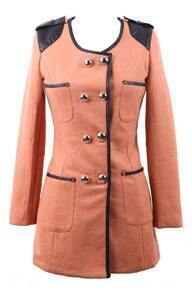 Khaki Contrast PU Leather Shoulder Trimmed Double Breatsed Coat