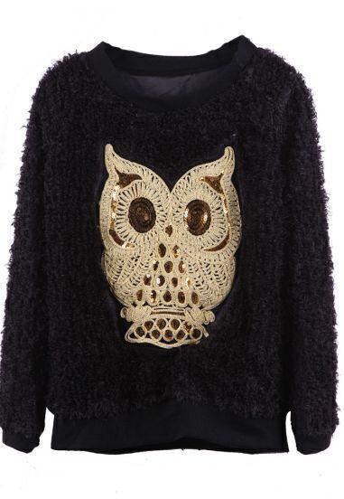 Black Sequined Embroidered Owl Fleece Pullover Sweatshirt