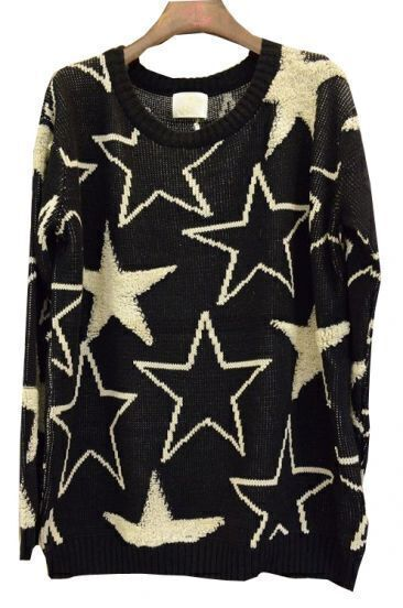 Black Apricot Long Sleeve Stars Embroidery Sweater